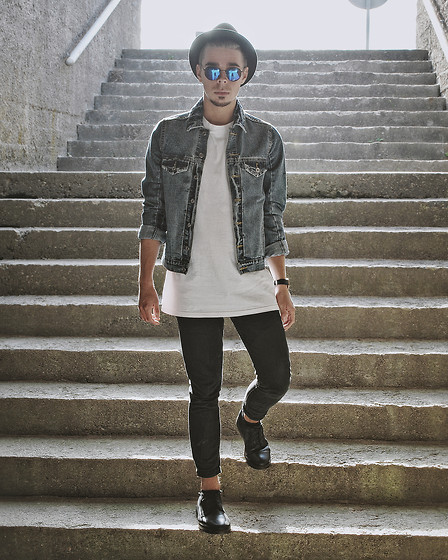 Edgar - H&M Long Fit Tee, H&M Denim Jeans, Pull & Bear Leather Shoes, Primark Denim Jacket, H&M Trilby, H&M Round Framed Sunglasses - A LIFETIME OF MEMORIES