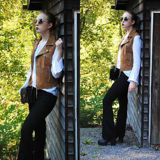 Noora V - Carlings Suede Vest, 2nd Hand Shirt, H&M Flared Jeans, H&M Boots, Lumi Bag, 80's Purple Sunglasses - The Darker 70s