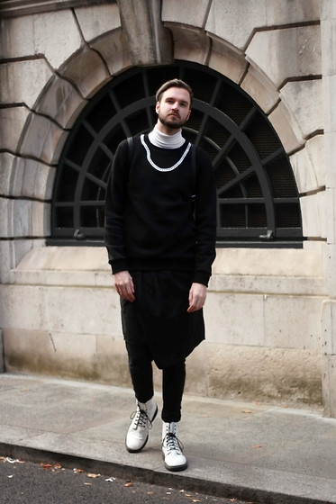 Geraint Donovan-Bowen - Topman Roll Neck, River Island Sweatshirt, Rokit Vintage Backpack, Borderline Apparel Skirt Trousers, Topman Boots - His Name Is #RIxChristopherShannon