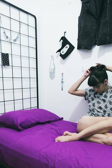 Daniela Nutz - American Apparel Pattern Romper, Swatch Glitter Watch, I Still Love You Nyc End Of Days Necklace -  Du  Pasquier