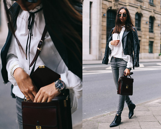 Bea G - Blouse, Jeans, Jacket, Shoes, Watch, Bag - TIE NECK