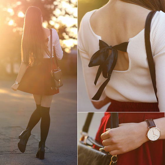 Ariadna M. - White Top, Burgundy Skirt, Black Leather Boots - Sunset