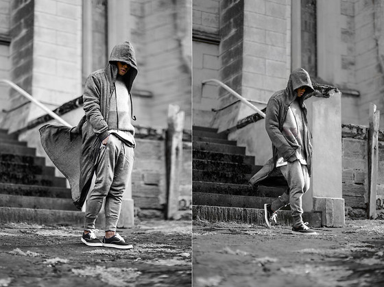 Bloggers Boyfriend - Rick Owens Long Hood Cardigan, H&M Long Hooded Thin Coat - Long Hood Cardigan