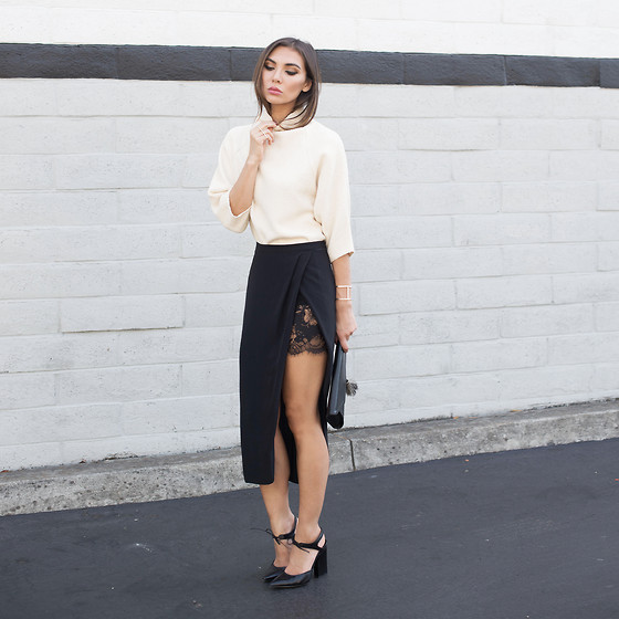 Tienlyn . - Lace Wrap Skirt, Lace Tie Heels, Envelope Clutch - PEEK A BOO