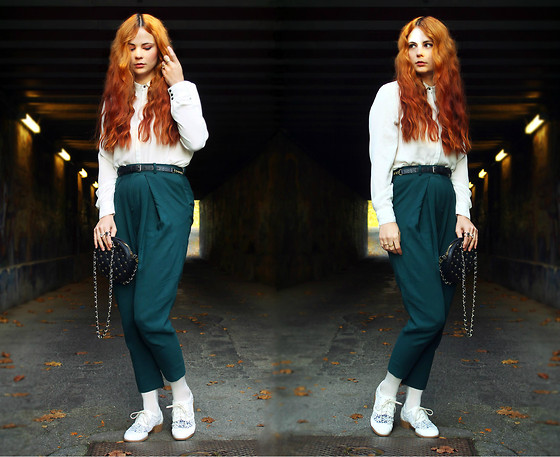 Katharina K. - &Otherstories Green Pants, H&M White Lace Brogues, Topshop Studded Bag, H&M Blouse - Howling