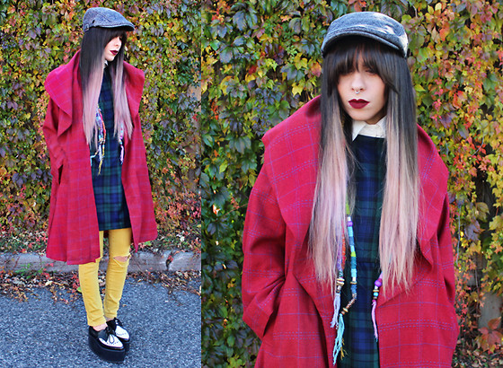 Katia Nikolajew - Lime Crime ''Wicked'' Lipstick, Tallulah' Threads Tartan Dress, Alice's Pig Coat, T.U.K. Footwear Pointed Stacked Creepers - Double Plaid...