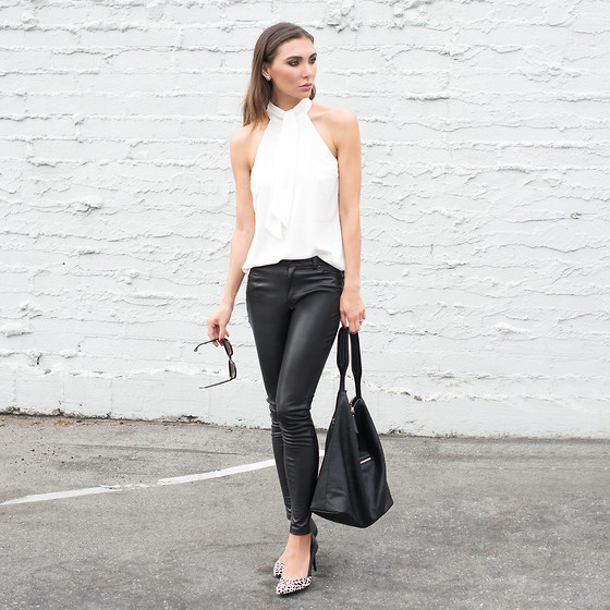 Tienlyn . - Tie Blouse, Leather Pants, Hobo Bag, Leopard Heels - FALL ESSENTIALS CHECKLIST