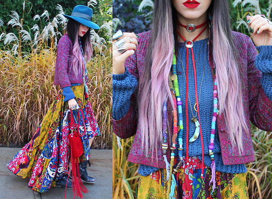 "Katia Nikolajew - Gypsy Soul Designs Skirt, Andrea Tamaela Fringe Bag, Lime Crime ""Red Velvet"" Lipstick, Stinnys Colby Bolo Necklace, Ellievail Jewelry Moon Necklace, Elorin Jewelry Designs ""Abalone"" Horn Necklace, Stylemoi Ring, Shopbypolar Stone Ring - Rainbow of colors..."