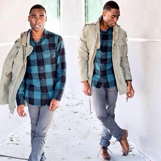 Willie Sparks - American Eagle Outfitters Shirt, H&M Parka, Zara Chinos, H&M Boots - Plaid ain't so bad