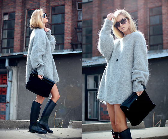 Sirma Markova - H&M Sweater, Hunter Boots, H&M Bag, Shein Shirt, Take My Yellow Dresses Ring, H&M Necklace, Stradivarius Sunglasses - Big, Gray, Fluffy, Sweater Weather