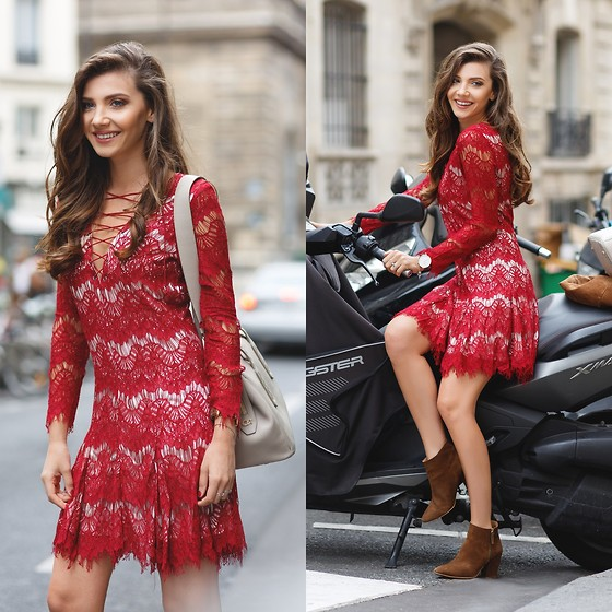 Larisa Costea - Romwe Dress, Corto Moltedo Bag - Suede and red lace