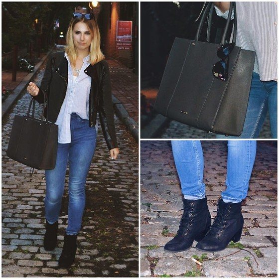 Amelia Burns - Charlotte Russe Booties, H&M Leather Jacket, Rebecca Minkoff Bag, H&M Jeans, Urban Outfitters Bandeau - Fashion Under the Shambles
