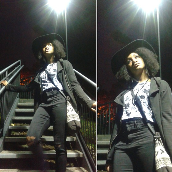 Ro Kaufman - H&M Floppy Felt Hat, H&M High Waisted, Ellison Asymmetrical, H&M Black & Blue Floral - Saturday's Child