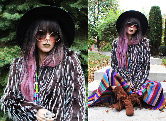 Katia Nikolajew - Zerouv Sunglasses, Stinnys Septum, Lime Crime ''Trouble'' Lipstick, Pretty Attitude Faux Fur Coat - Faux fur Tuesday....