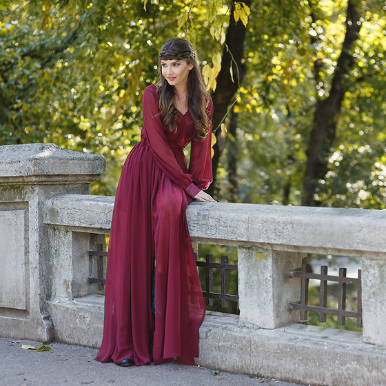 Larisa Costea - Shein Dress - Burgundy dress
