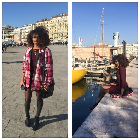 L'Albertina - Primark Necklace, Primark Bag, H&M Socks, Bershka Dress - Red Wine