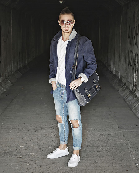 Edgar - Navy Coat, H&M Plain V Neck T Shirt, H&M Platform Sneakers, Primark Diy Ripped Denim Jeans, Topman Leather Satchel, Primark Sunglasses - TIME WAITS FOR NO ONE // See More In Description