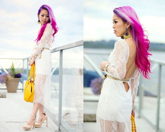 Aika Y - Style Moi Lace Overlay Low Scoop Back Midi Dress, Asos Statement Earrings, Shoe Dazzle Nude Pumps - Mermaid In The White Dress