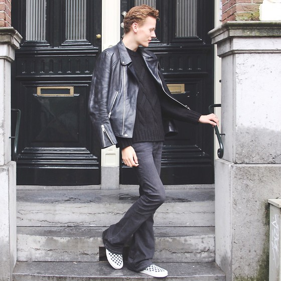 Martijn Maagdenberg - Sandro Leather Jacket, Drykorn Knit Sweater, J Brand Flared Jeans, Vans Slip Ons - Untitled #35