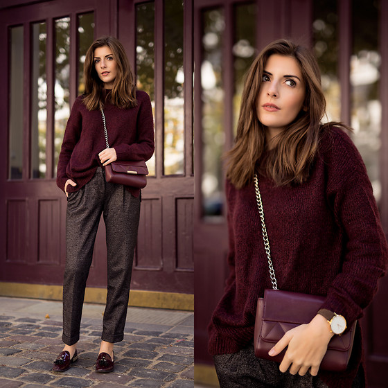Valerie Husemann - Only Burgundy Knit, Tommy Hilfiger Slacks, Zara Loafers - Slacks and Burgundy Knit