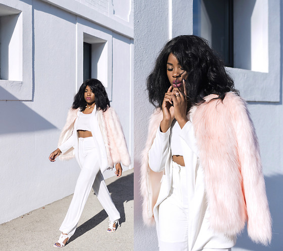 Wallace Yolicia - Vero Moda Petite Shaggy Faux Fur Jacket, Topshop Tall Wide Leg Trousers, Ellie Snake Effect Caged Heels, Elizabeth And James Jamie Cotton Blend Sateen Blazer, Usc Pearl Statement Necklace - PINK FUR IS THE NEW BLACK