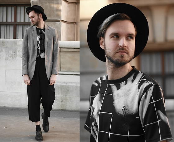 Geraint Donovan-Bowen - Topman Fedora, Topman Blazer, House Of Quinn Tee, Rokit Vintage Trousers, River Island Shoes - His Name Is Quinn