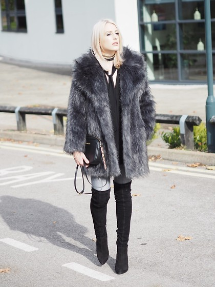 Charlotte Buttrick Lewis - Biba Grey Faux Fur Jacket, Asos Over The Knee Boots, Michael Kors Bedford Bag, River Island Grey Skinny Jeana - Faux fur & over the knee boots