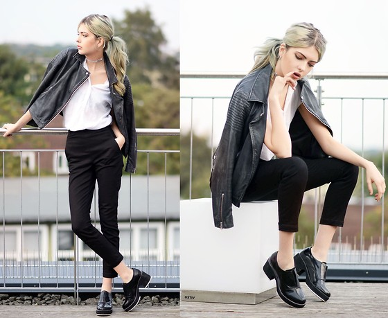 Ebba Zingmark - Topshop Jacket, Reval Denim Guild Pants, Shellys London Shoes, Suzywan Delux Choker, Gap Blouse - STELLA