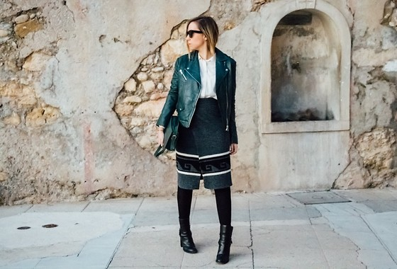 Jessica G - Sud Express Leather Jacket, Isabel Marant Skirt, See By Chloé Boots - Vizzil // About-A-Girl.com