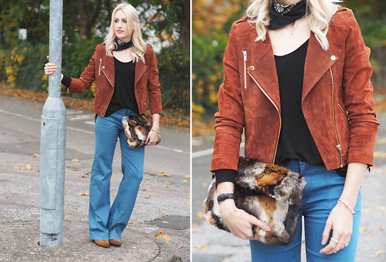 Charlotte Buttrick Lewis - Accessorize Faux Fur Clutch Bag, 7 For All Mankind Wide Leg Flare Jeans, Mango Tan Suede Jacket, Asos Bandana Neck Scarf - That 70s Trend