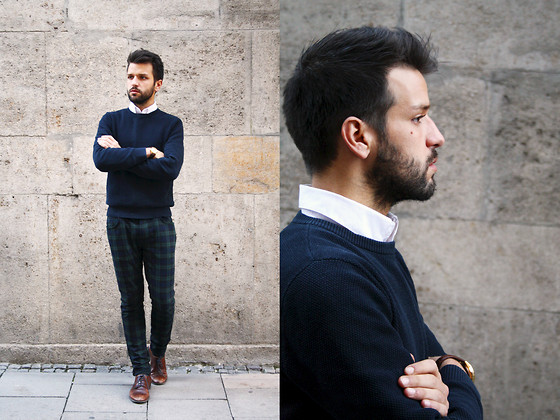 Marc Galobardes - Zara Blue Sweater, Zara Trousers, H&M Brown Shoes - SQUARES