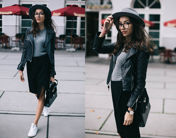 Bea G - Jacket, Sweater, Skirt, Hat, Sneakers, Bag - Stan Smith & Midi Skirt