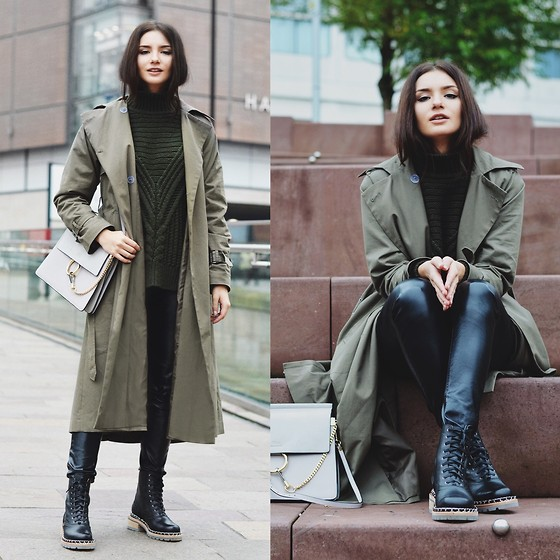 Lolita Mas - Asos Khaki Trench Coat, Chloe Bag, Chanel Lace Up Boots, Asos Oversized Jumper - Dried Herb