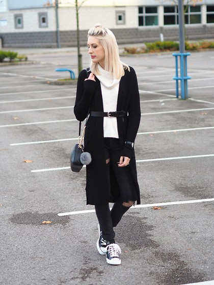 Charlotte Buttrick Lewis - Converse Black High Top, Topman Ripped Skinny Jeans, Forever 21 Long Black Cardigan - Convers & Cardigans in Monochrome Knitwear
