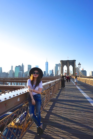 Eliza Tanudjaja - 7 For All Mankind Jeans, American Apparel White Tee, Miu Black Sunnies - Brooklyn Basic