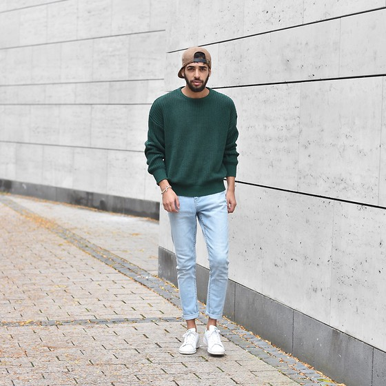 Manij A. - American Apparel Sweater, Cheap Monday Jeans, Pull & Bear Snapback, Adidas Shoes - GO GREEN