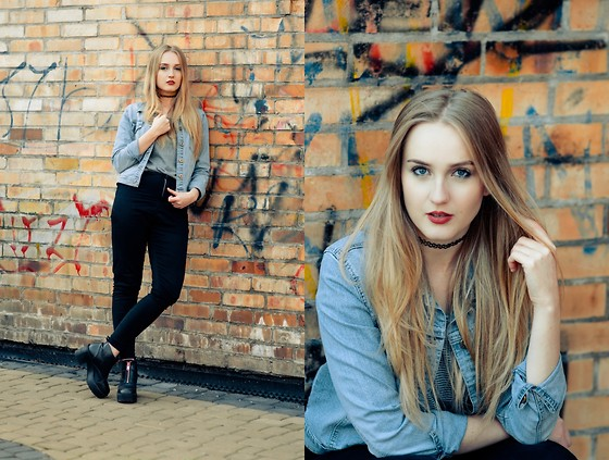 Agnieszka Warcaba - Http://Bornprettystore.Com Chocker, Sh Jacket, C&A Top, Bershka Jeans, H&M Boots - Jeans jacket with chocker