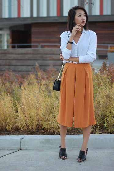 Jeannie Y - Zara Shirt, Forever 21 Culottes, Clarks Heels, Tory Burch Crossbody Bag - Autumn Tones