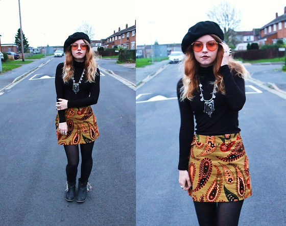 Amy Allatt - Ebay Barett, Etsy 70s Shades, Zara Paisley Cord Skirt, Topshop Turtle Neck, Primark Tights, Amazon Booties, Claire's Necklace - After The Glitter Fades