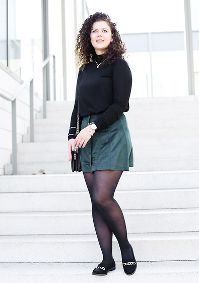 The S Signature - Zara Black Shirt, Zara Green Skirt, Primark Loafer - Autumn 2015