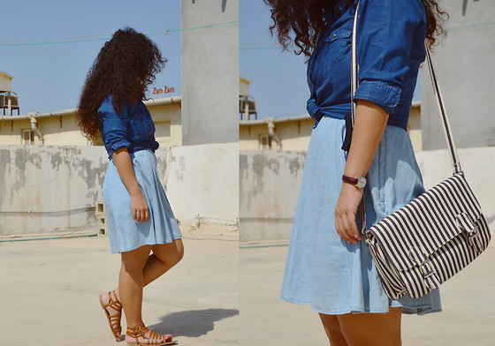 Nada Qamber - H&M Denim Dress, H&M Denim Button Up, Forever 21 Gladiator Sandals, Forever 21 Striped Messenger Bag - Denim and Stripes