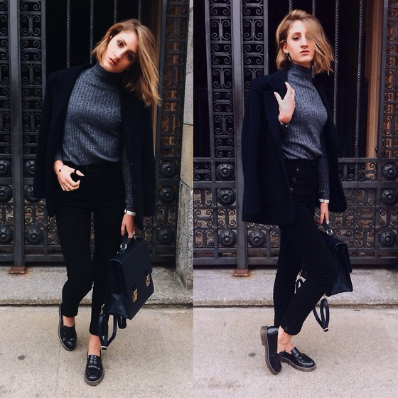 "Greta I. - H&M Dark Grey Turtleneck Sweater, H&M High Waisted Black Skinny Pants - ""Often"" - The Weeknd"