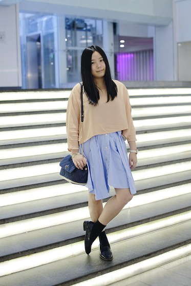 Yan Chen - Wingfree Blouse, Doolittle Skirt, Charles & Keith Bag, E Hyphen World Gallery Shoes - Pastel tone
