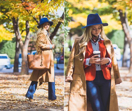 Olga Choi - Romwe Wool Hat, Michael Kors Jet Set Tote, Romwe Stripe Shirt, Tommy Hilfiger Rust Blazer - Prints and layers