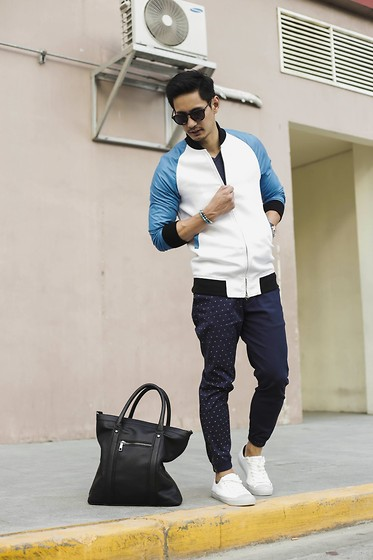 The Filo Dapper - Bang Pineda Blue Bomber Jacket, Outkast Paradigm Jogger Pants, People Footwear Sneakers, Aldo Tote Bag, Raen Sunnies - Blued by bang