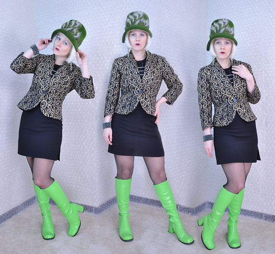 Suzi West - Velour 1960s Vintage Hat, Wdny Embroidered Paisley Blazer, Byer Too! 1990s Spice Girl Tank Dress, Ellie Shoes Go Go Boots - 13 November 2015