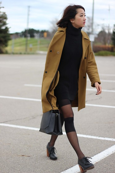 Jeannie Y - Topshop Coat, Style Moi Sweater Dress, Auxiliary Satchel, Jeffrey Campbell Shoes Booties - Olive You
