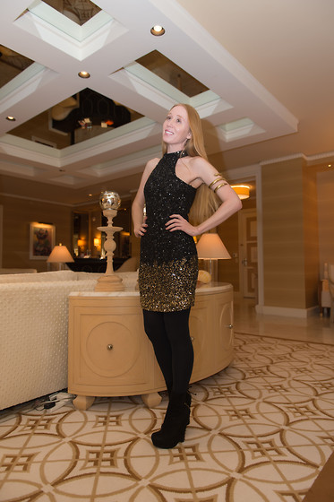 Jacqueline Rose - Parker Sequin, Vintage Snake, Express Tights, Yves Saint Laurent Wedge - Parker Kari Dress
