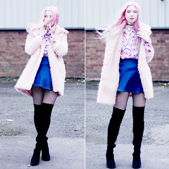 Kayla Hadlington - Coat, Skirt, Thigh High Boots - PINK FLUFFY COAT