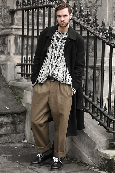Geraint Donovan-Bowen - Vivienne Westwood Coat, Joseph Jumper, Asos Trousers, Dr. Martens Shoes - His Name Is Heritage